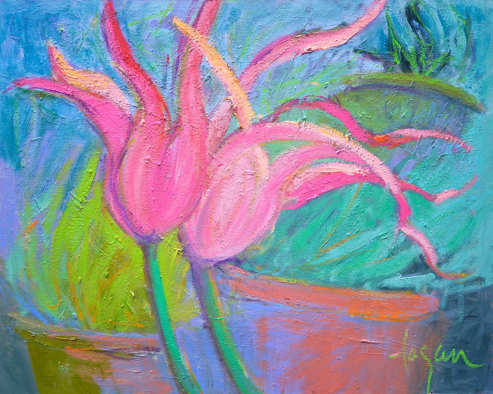 Pink Parrot Tulips Painting, Limited Editon Print by Dorothy Fagan