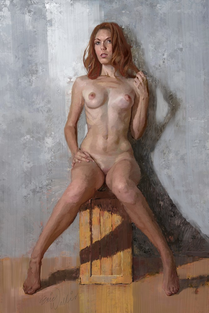 """Digital painting titled """"Nude on a Box"""" -Eric Wallis"""