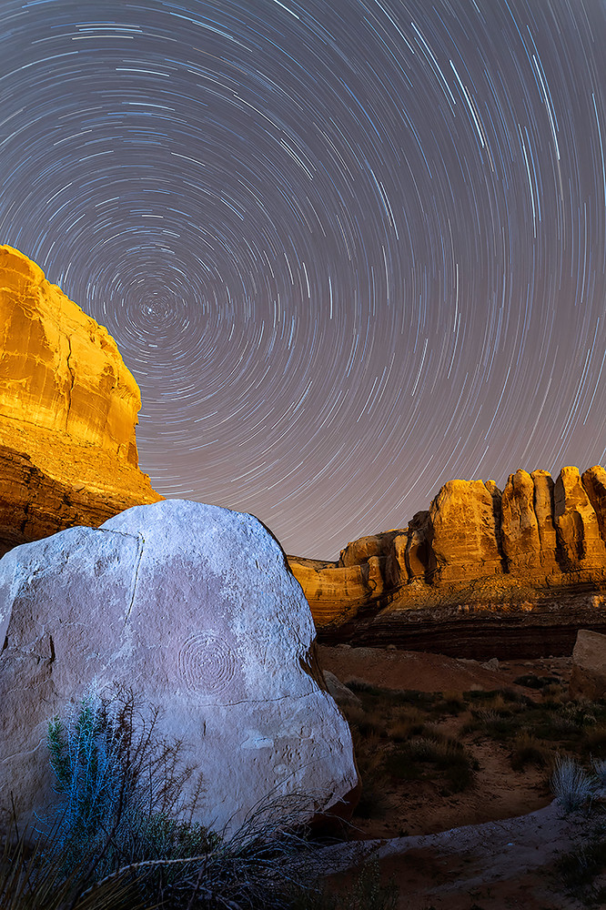 Spiral Petroglyph with Star Trail