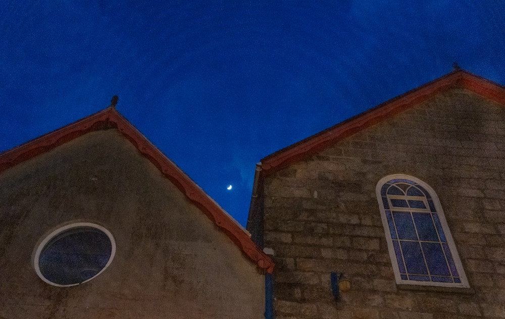 Old buildings and night sky St. Ives