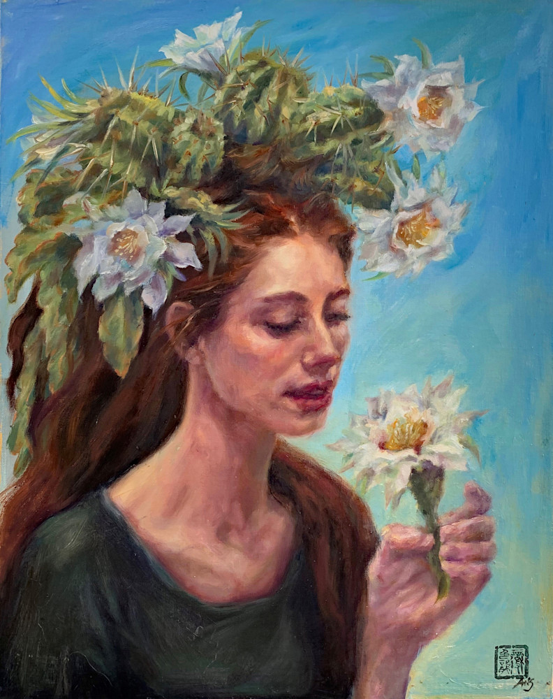 Cactus Queen: Desert Lily. From Ans Taylor's Cactus Queen series, oil on linen