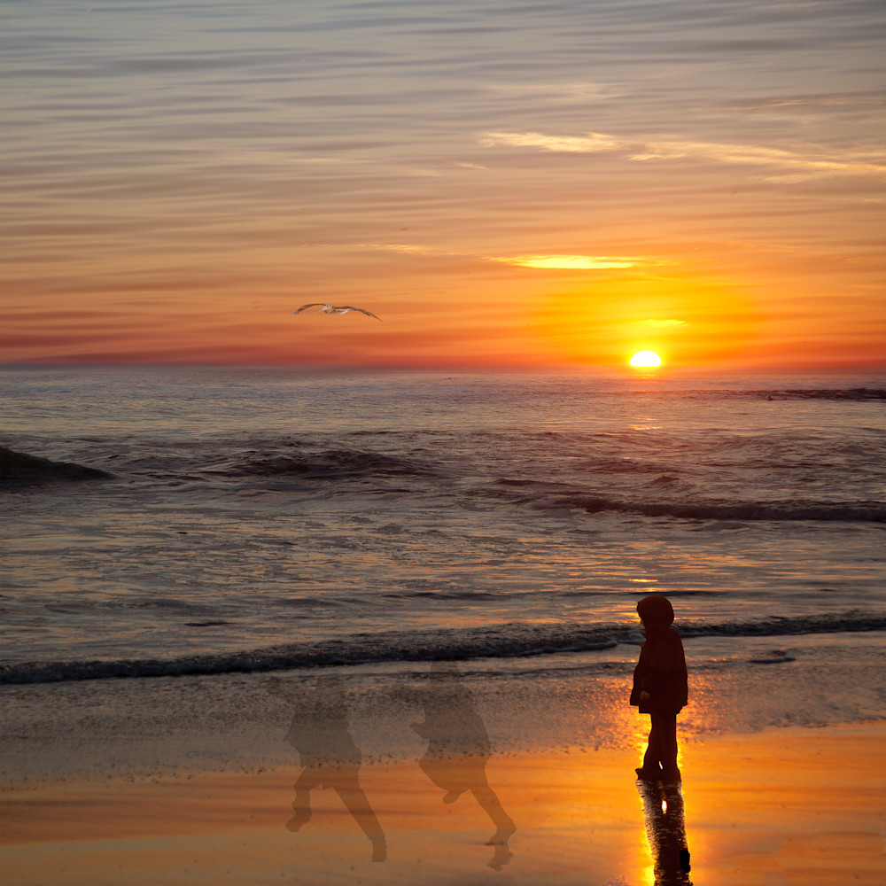 Photographer Vincent Dileo created this photo montage while watching a beautiful sunset and children playing on the beaches of Santa Cruze, California.