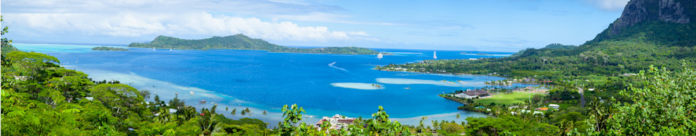 I photographed this picture of Tahiti from a high vantage point on one of the many islands. It is one of the most beautiful places that I have ever been to.