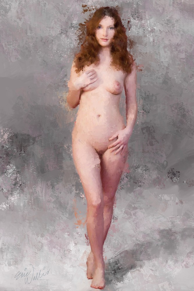 "Digital painting by Eric Wallis titled ""Nude on Gray"""