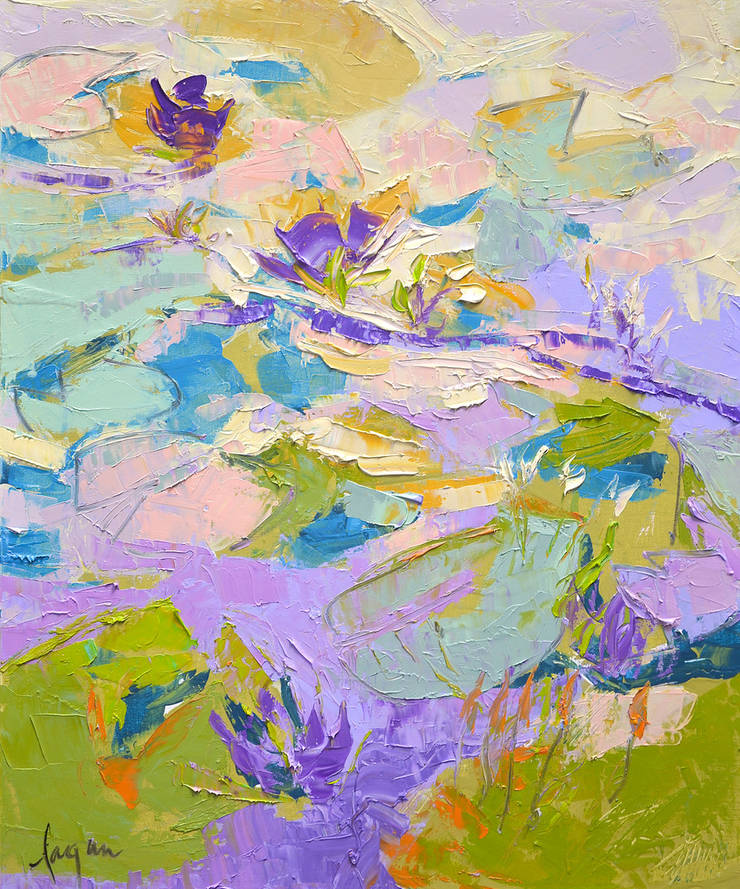Purple Water Lilies Painting, Canvas Print by Dorothy Fagan