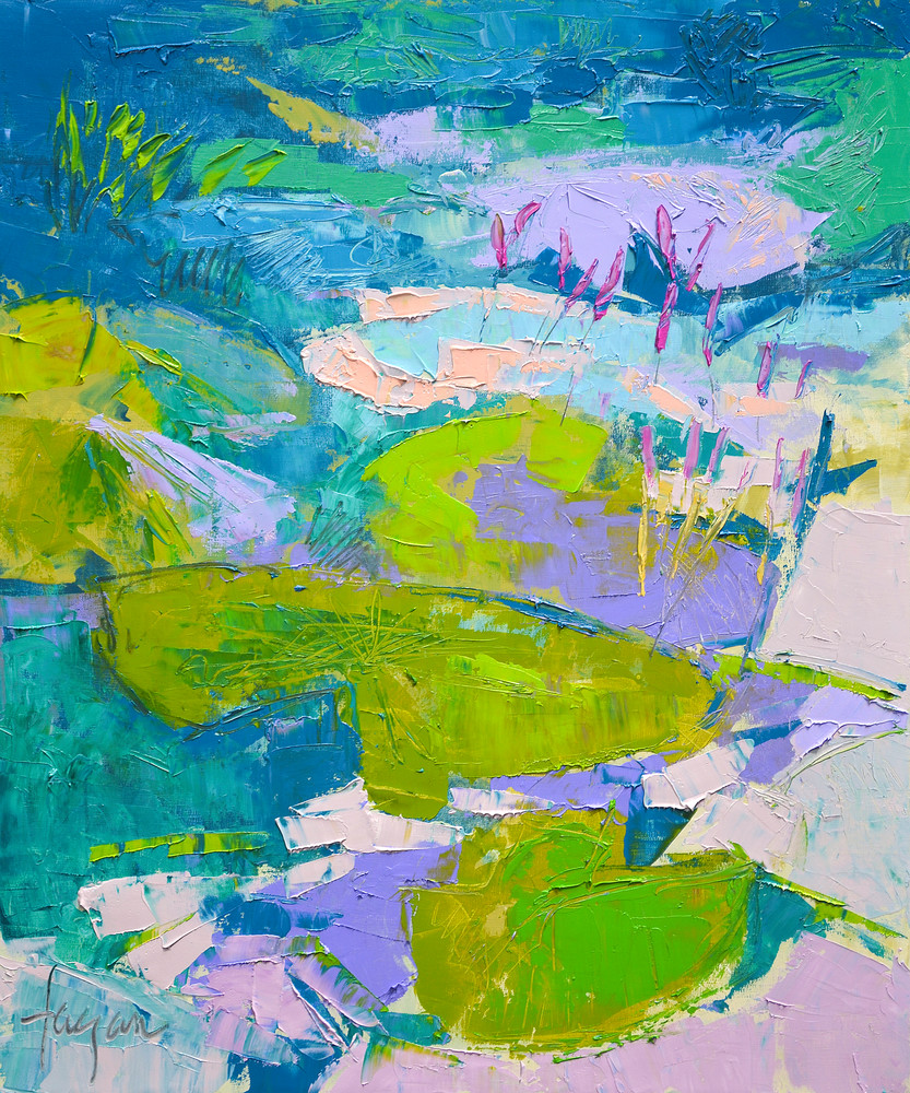 Teal Green Waterlilies Painting, Canvas Print by Dorothy Fagan