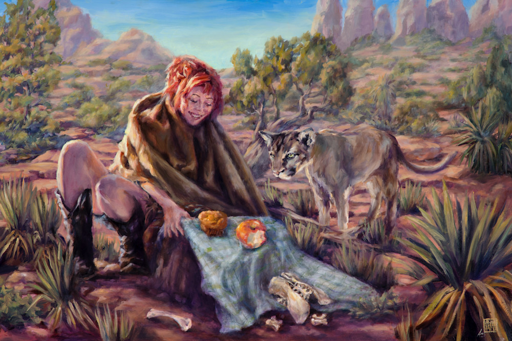 Picnic with a Cougar by Ans Taylor is now available as art print on canvas