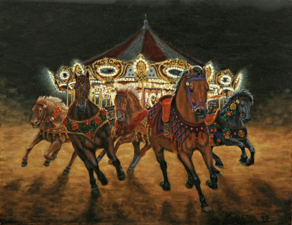 Carousel Escape at Night Fine Art Prints