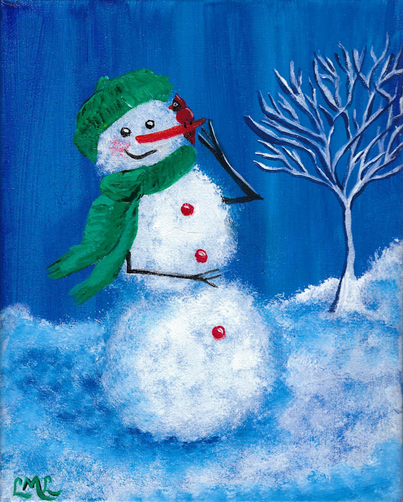 Snow Man with Cardinal | LML Studio Art