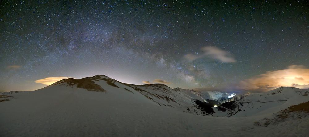 Panorama of the night sky over Loveland Pass
