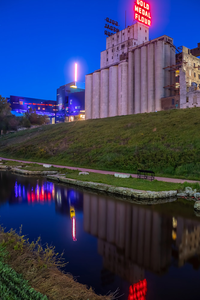 Gold Medal Flour Reflections - Minneapolis Cityscape Art | William Drew