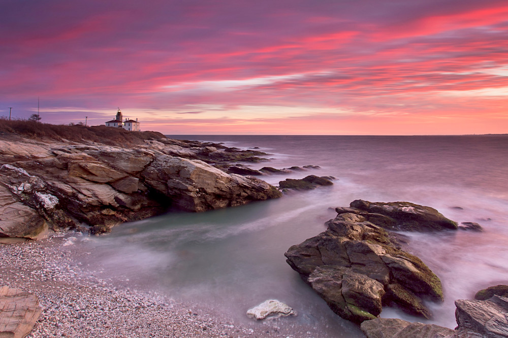"""Red Sky at Beavertail"" Large Lighthouse Fine Art Photography Print"