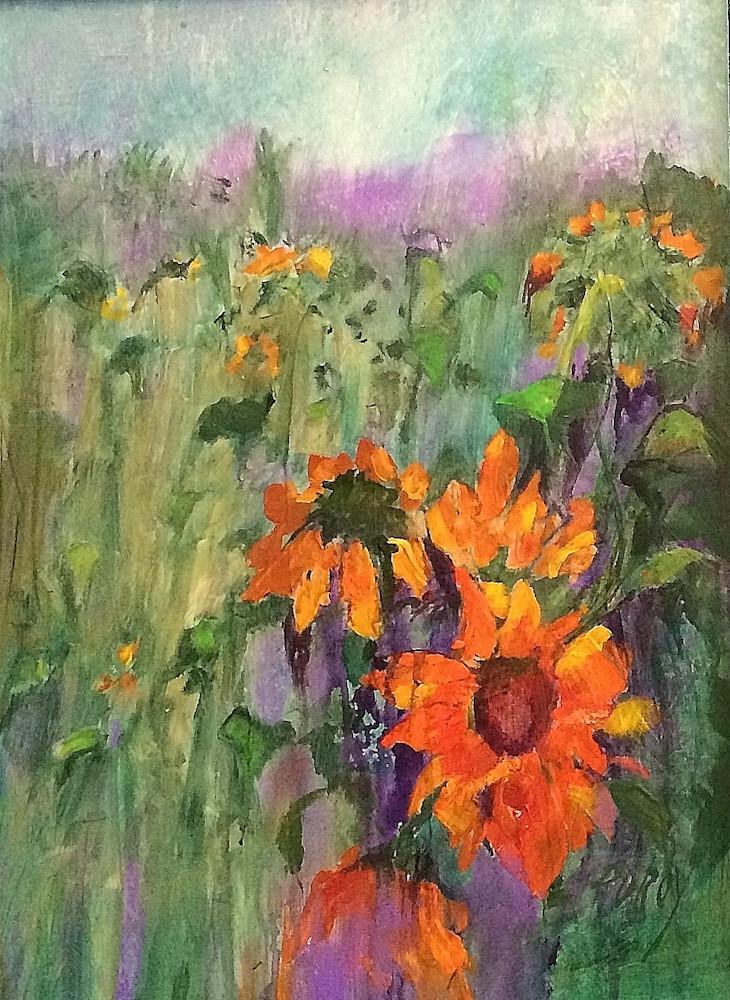 Rain Drenched Sunflowers Art | PoroyArt
