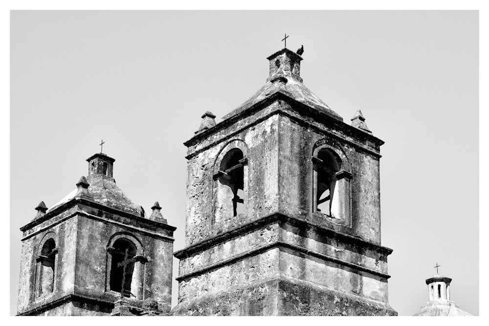 Vulture on Mission Nuestra Señora de la Purísima Concepción de Acuña | San Antonio | Black and White Photographs | Nathan Larson