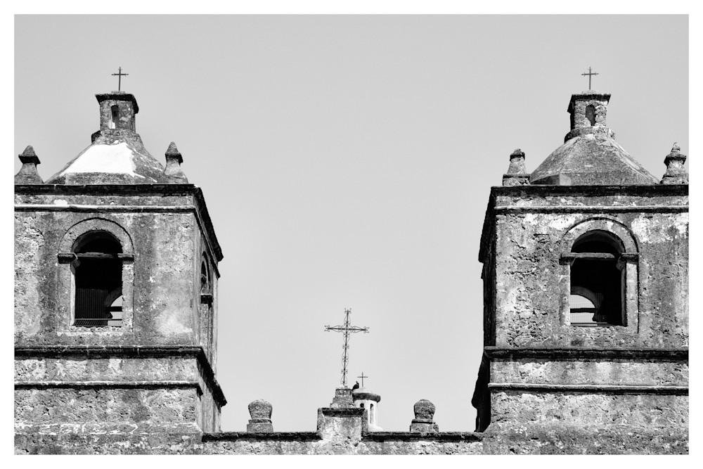 Bell Towers of Mission Nuestra Señora de la Purísima Concepción de Acuña | San Antonio | Black and White Photographs | Nathan Larson