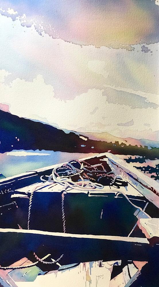 Lazy Summer Boat Float, contemporary Fine Art.  Shop Prints/ Patrice Cameron Art.