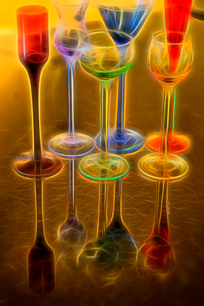 Cordial Glasses in Reflection