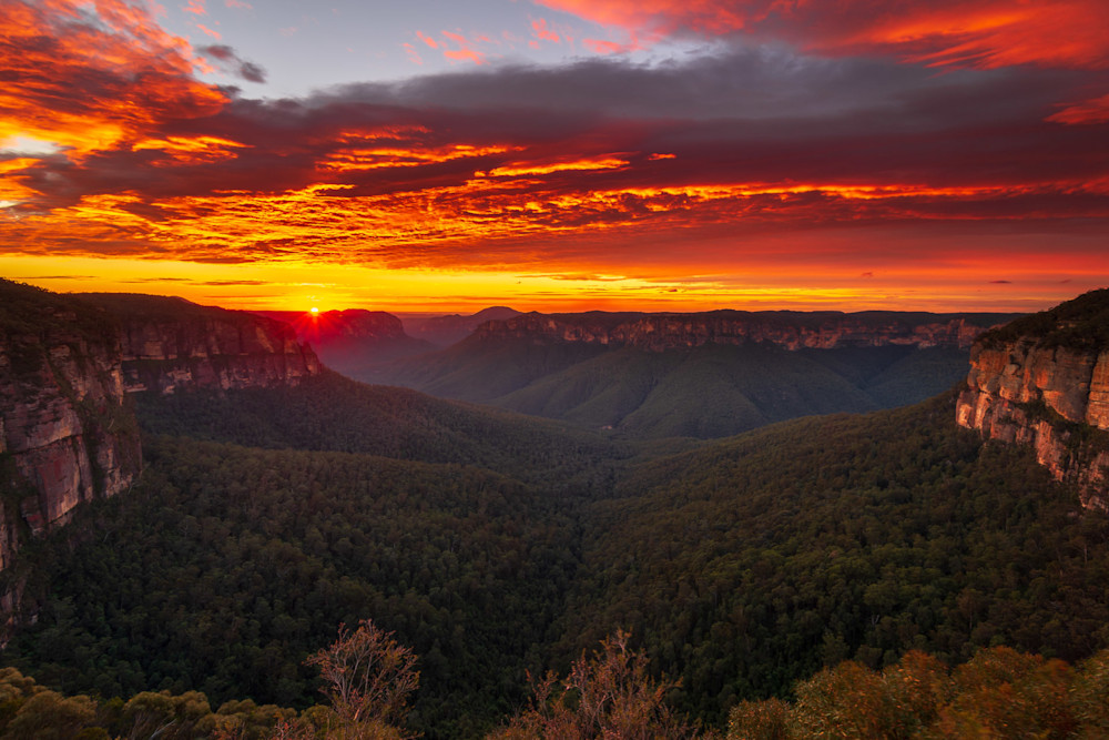 Leap of Glory - Grose Valley Govetts Leap Blackheath Blue Mountains National Park NSW Australia Sunrise