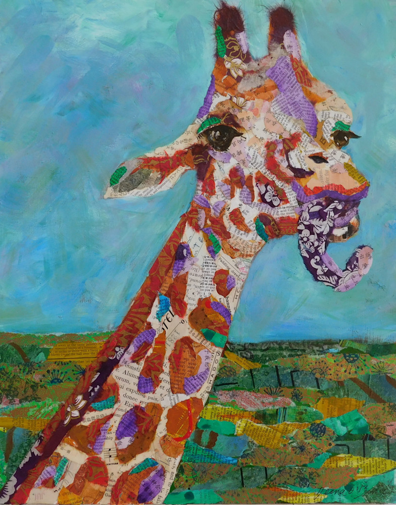 giraffe, animals, Africa, giraffes, collage, art