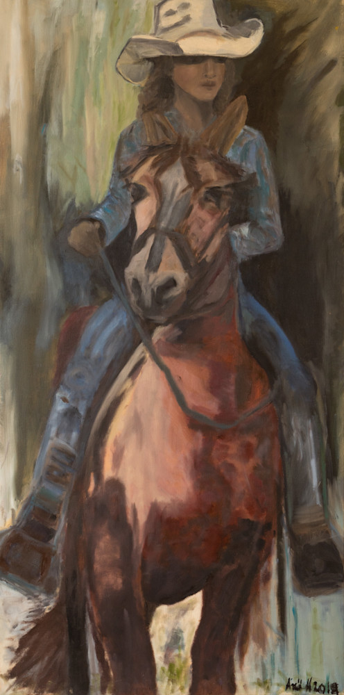 Cowgirl and her horse. Western Art. Print