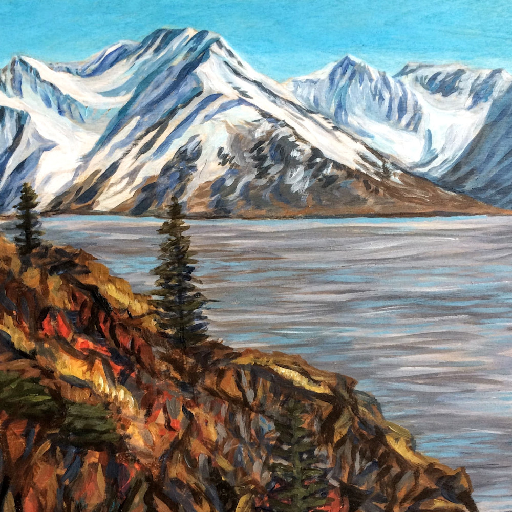 View from McHugh Mountain and Coast Alaska Art Print by Amanda Faith Thompson