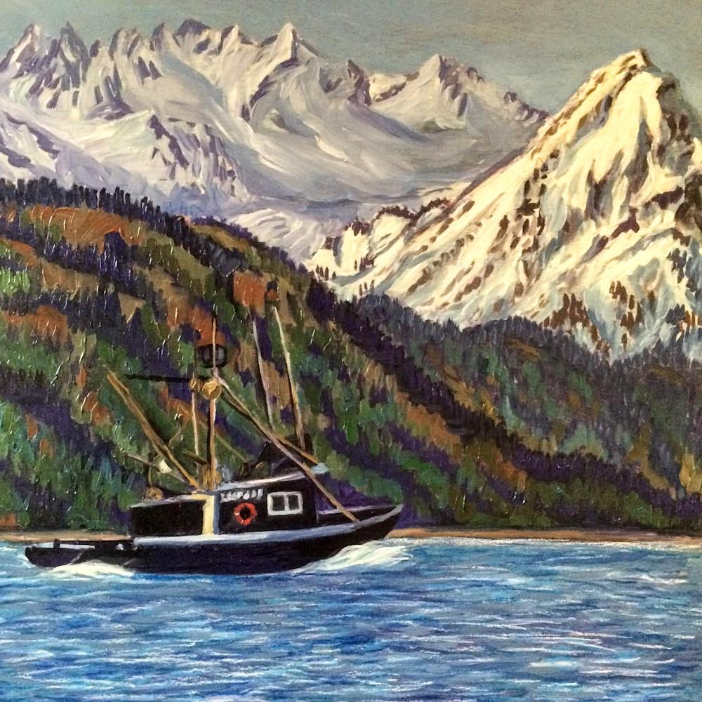 Kachemak Bay Boat Ride   Alaska Art Print Art | Amanda Faith Alaska Paintings
