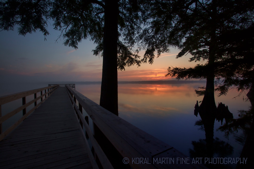 Sunrise Dock Foggy Reelfoot Lake Photograph 0372 E RLT LF  | Tennessee Photography | Koral Martin Fine Art Photography