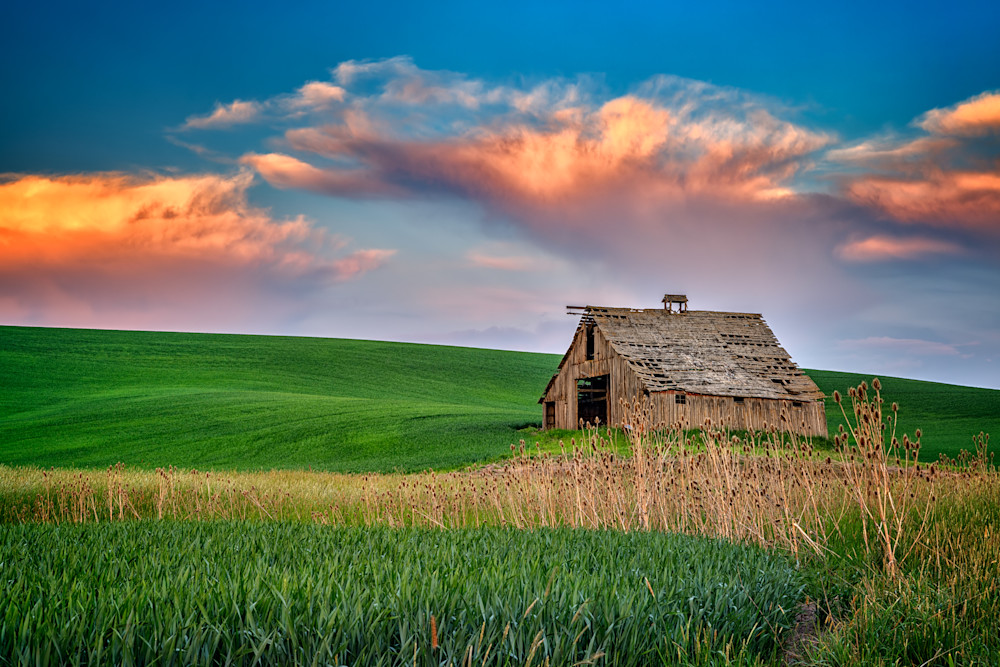 Sunset at the Old Barn by Rick Berk