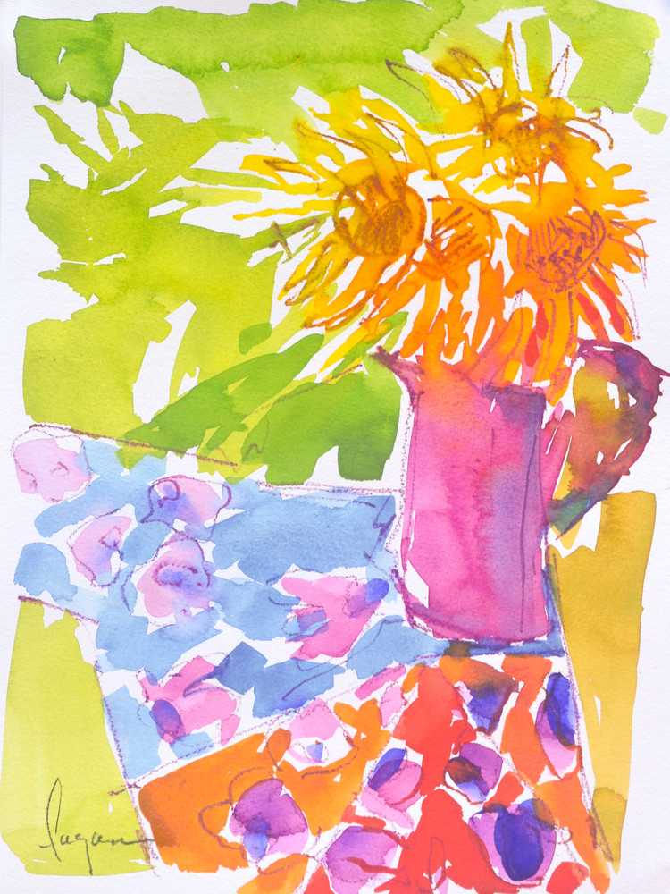 Sunflowers Watercolor Painting Print by Dorothy Fagan