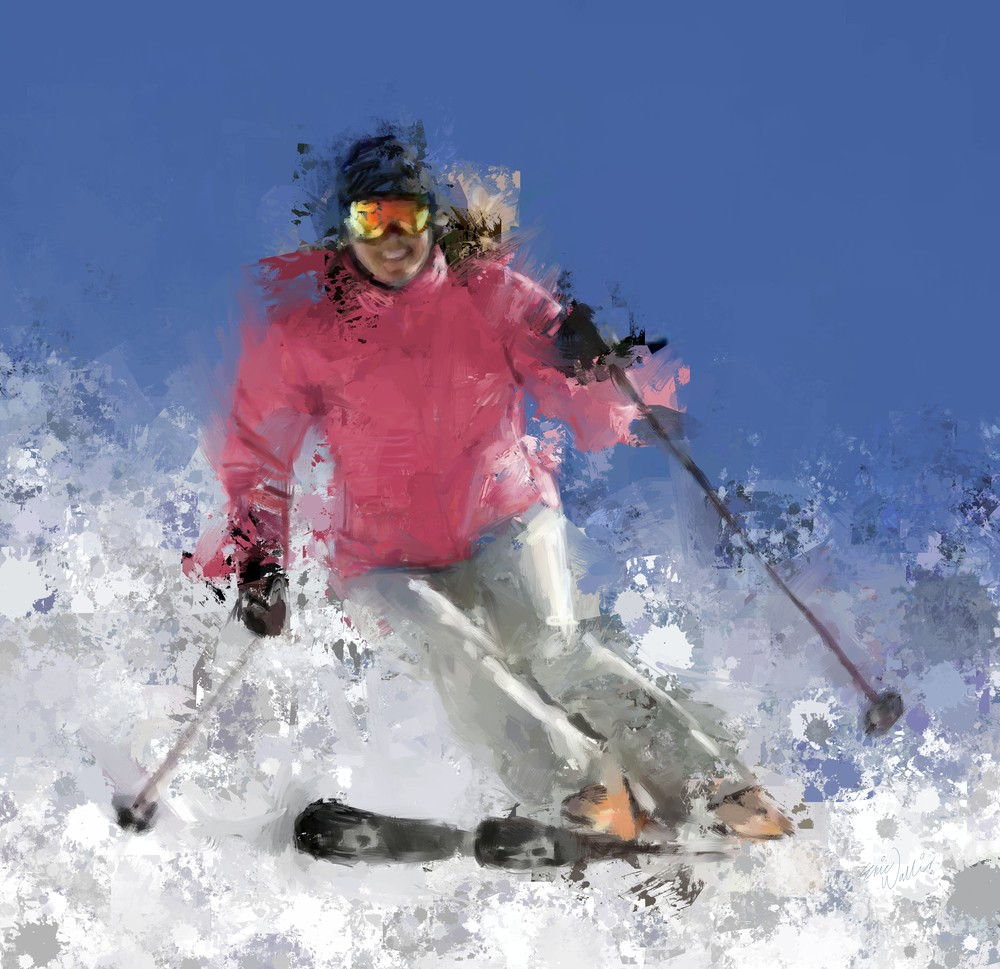 Woman Skiing in Pink by Eric Wallis.