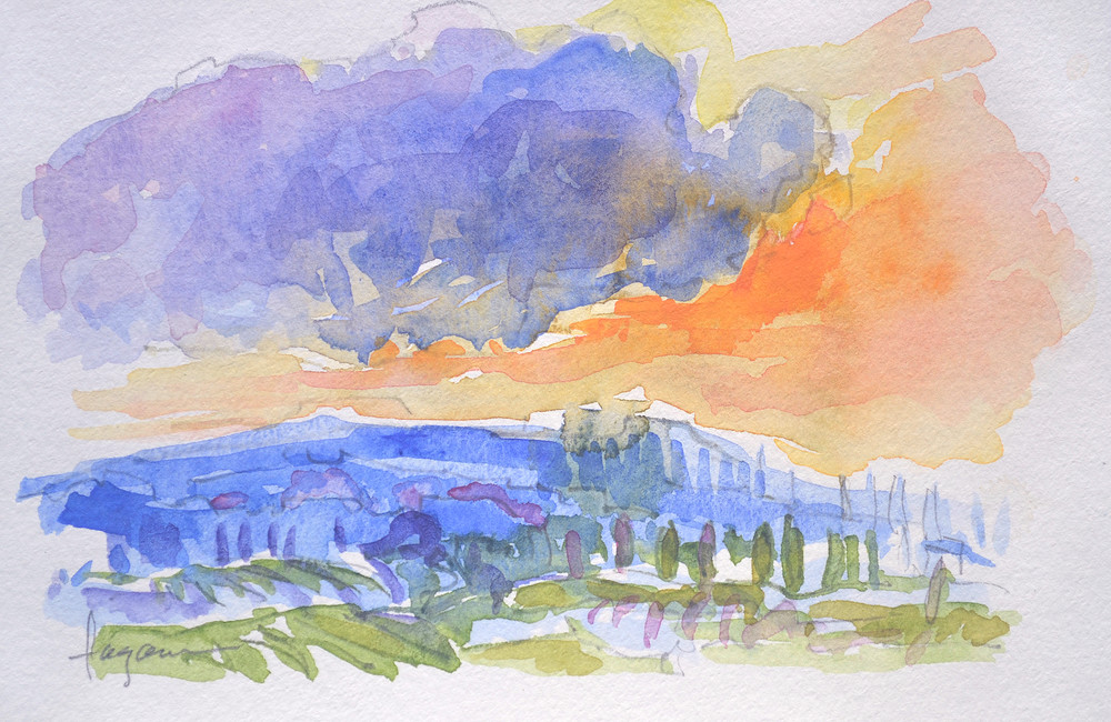 Tuscan Landscape Watercolor Painting Fine Art Print by Dorothy Fagan