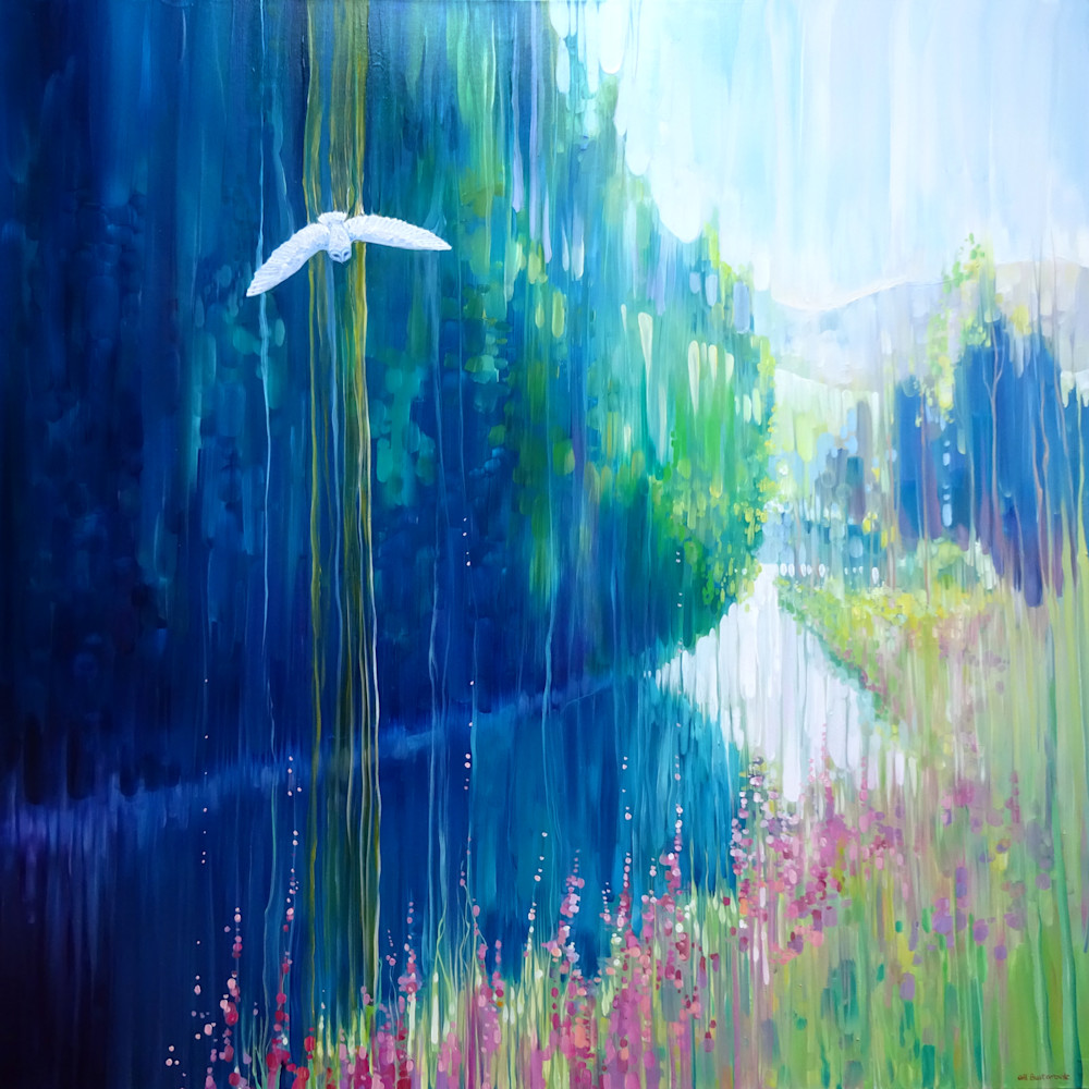 a print on canvas or paper of enchanted river landscape with a white barn owl