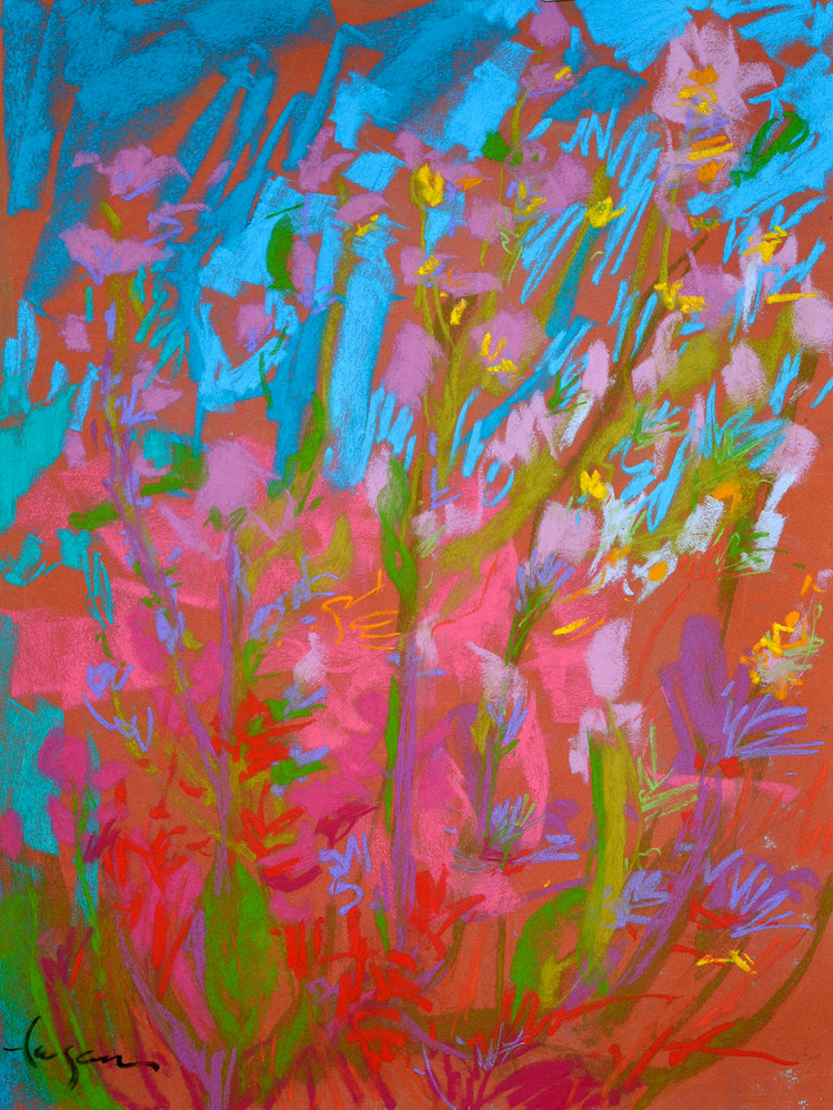 Abstract Wildflower Painting Fine Art Print Canvas by Dorothy Fagan