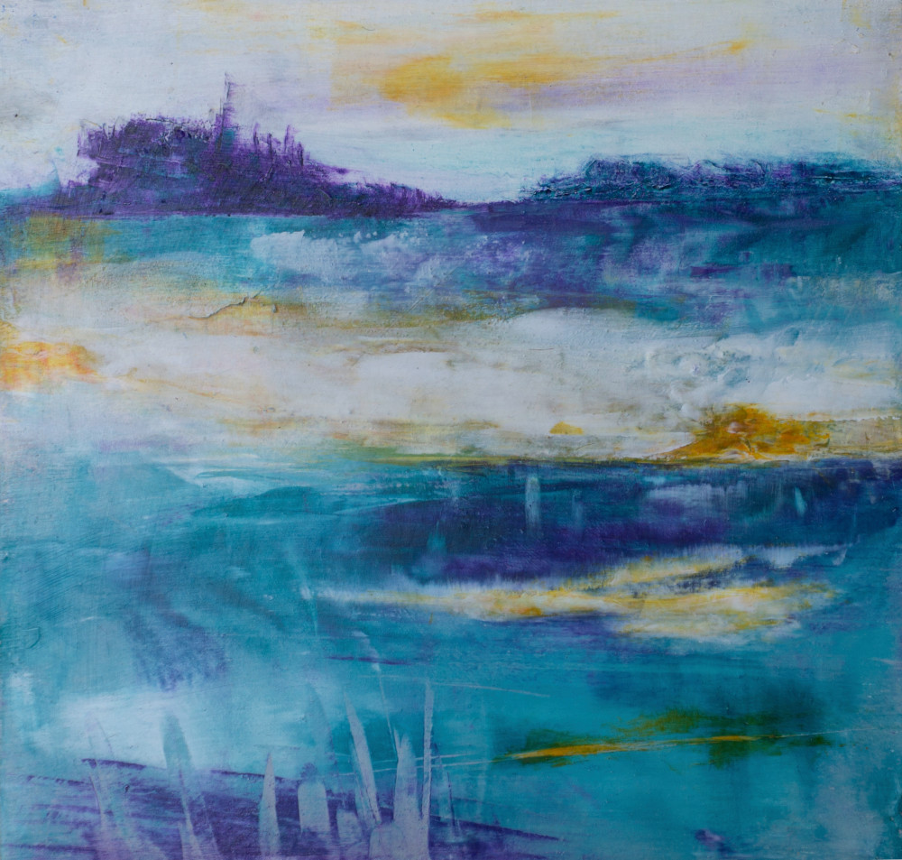 Teal Island   Abstract Painting by Lucy Ghelfi   For Sale