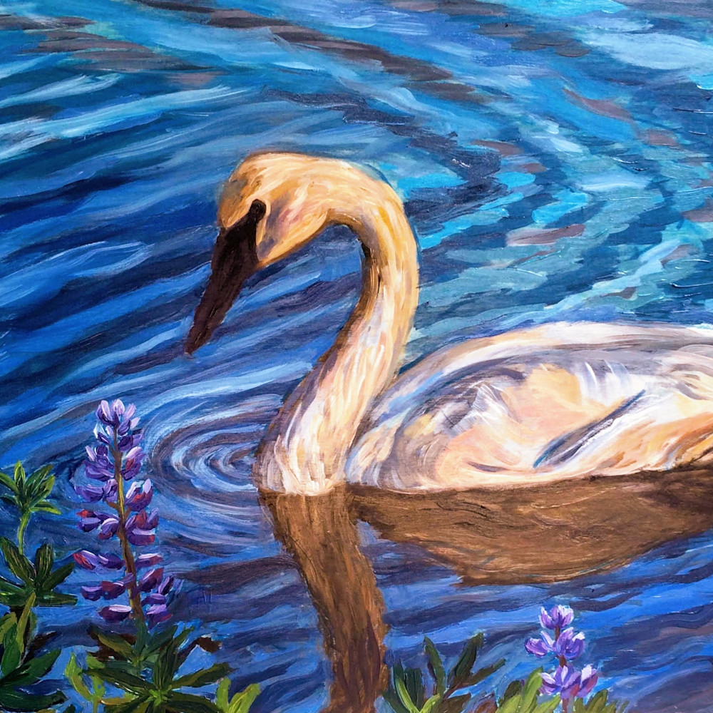 Swan And Lupine   Alaska Art Print Art | Amanda Faith Alaska Paintings / Estuary Arts, LLC