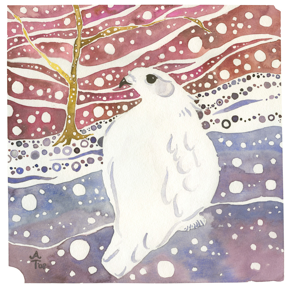 Winter White Ptarmigan   Alaska Art Print Art | Amanda Faith Alaska Paintings
