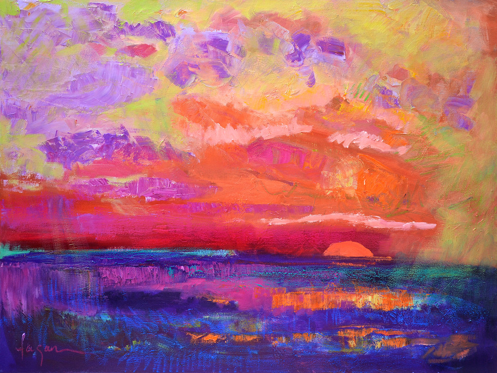 Beautiful Red Sunset Painting Fine Art Print by Dorothy Fagan