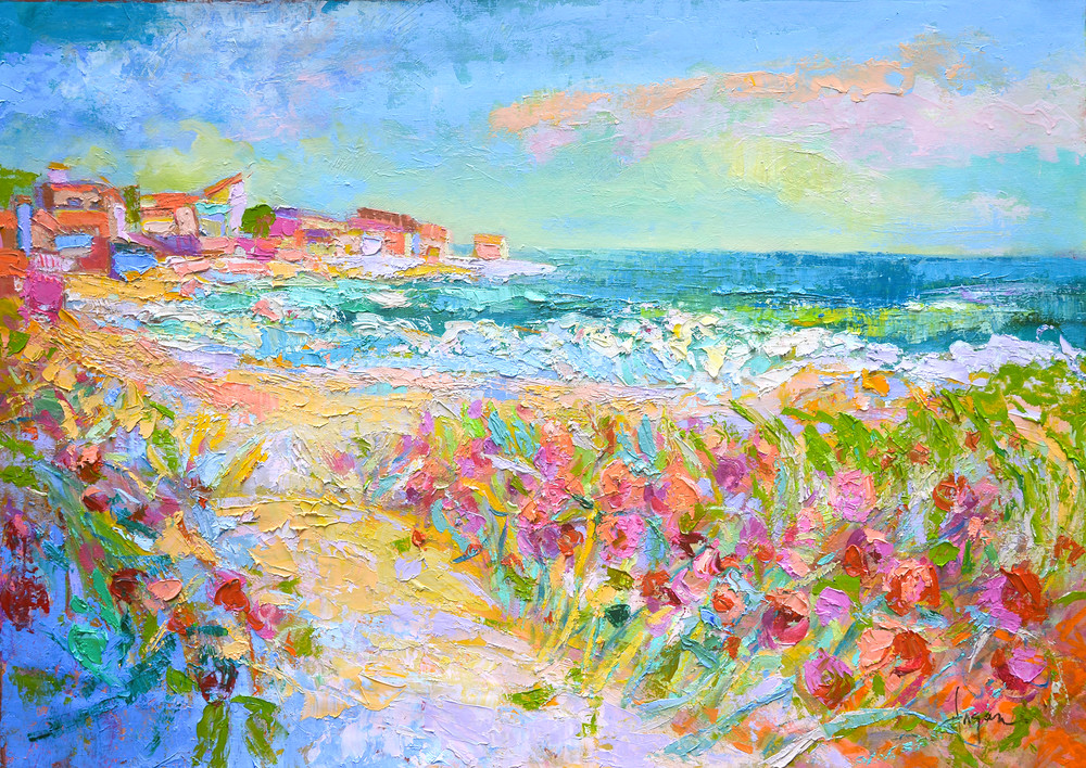 Beach Painting with Wild Roses by Dorothy Fagan