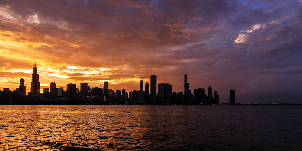 Hot and Cold Chicago Sunset Skyline - Chicago Cityscape Art | William Drew