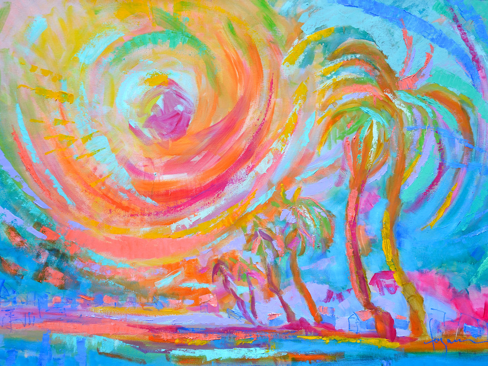Abstract Palm Trees Painting, Art Print on Canvas by Dorothy Fagan