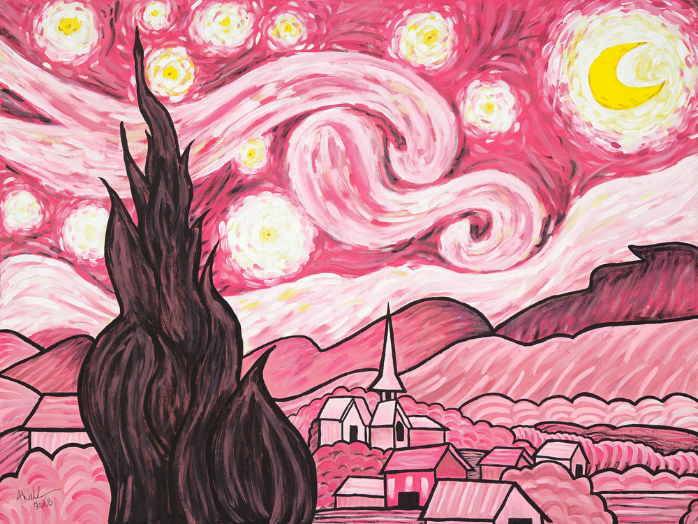 Pink Starry Night Art | a.dawn art