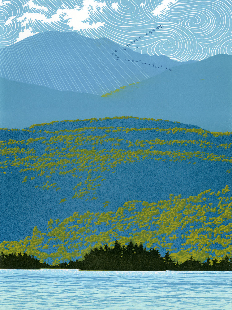 Migrating birds cross a mountain landscape.