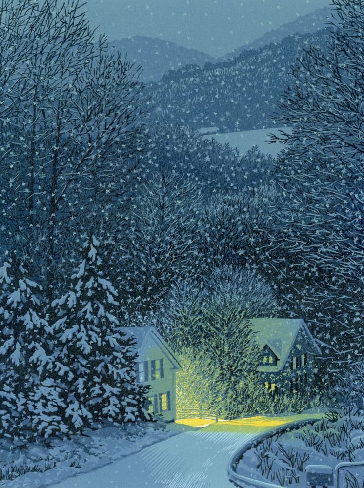 Winter snow country blue night