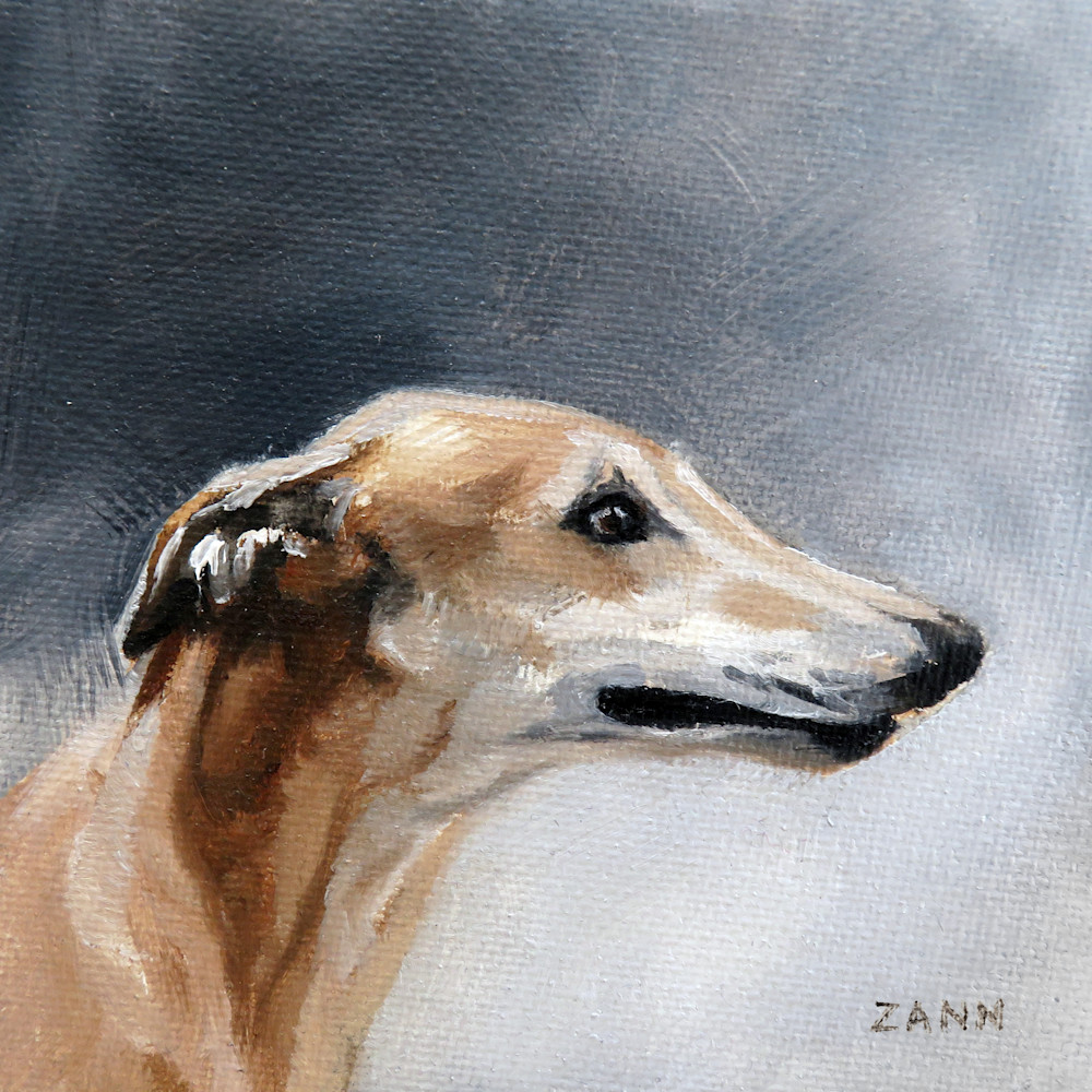 Painting of a Whippet in the Storm