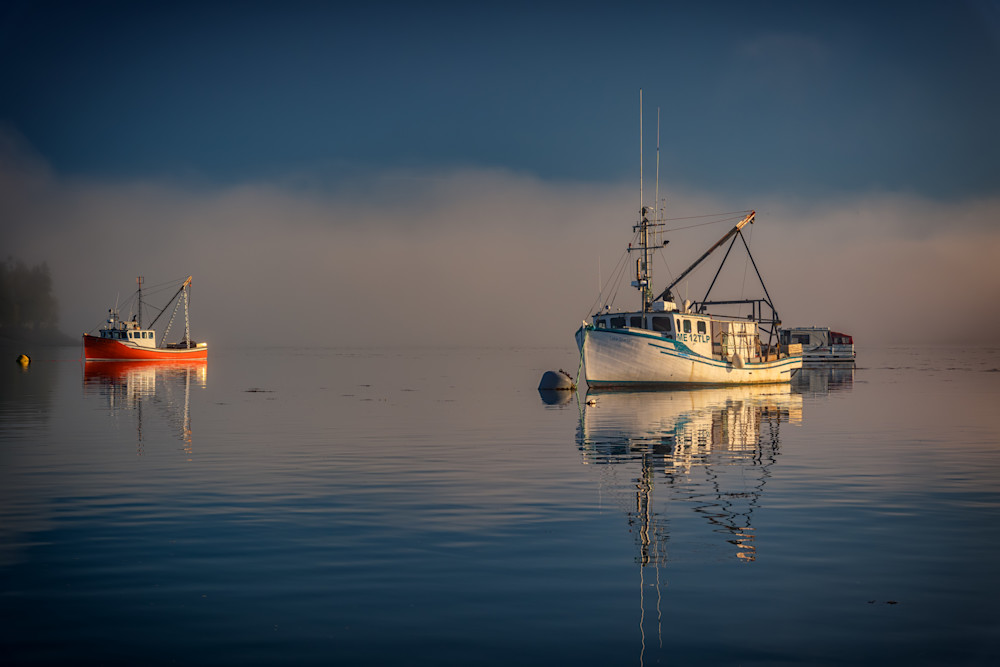 At Anchor in the Morning Mist by Rick Berk