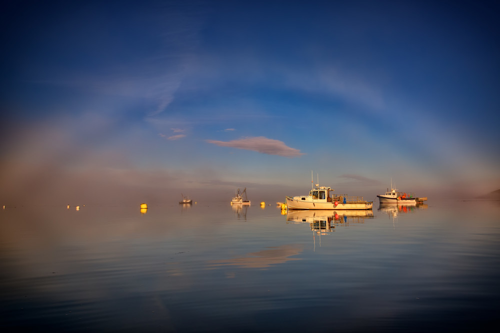 Fogbow in Lubec Harbor by Rick Berk