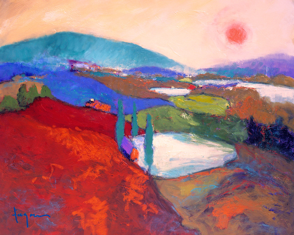 Valley of Love Sunset Painting Print by Dorothy Fagan