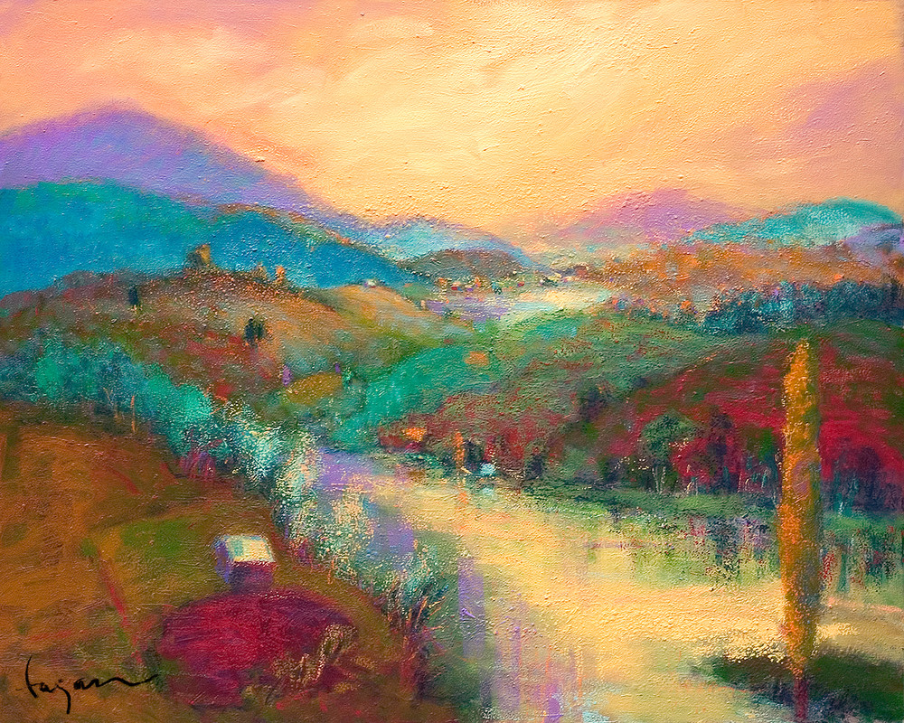 Beautiful Mountain Landscape Painting, Fine Art Print by Dorothy Fagan