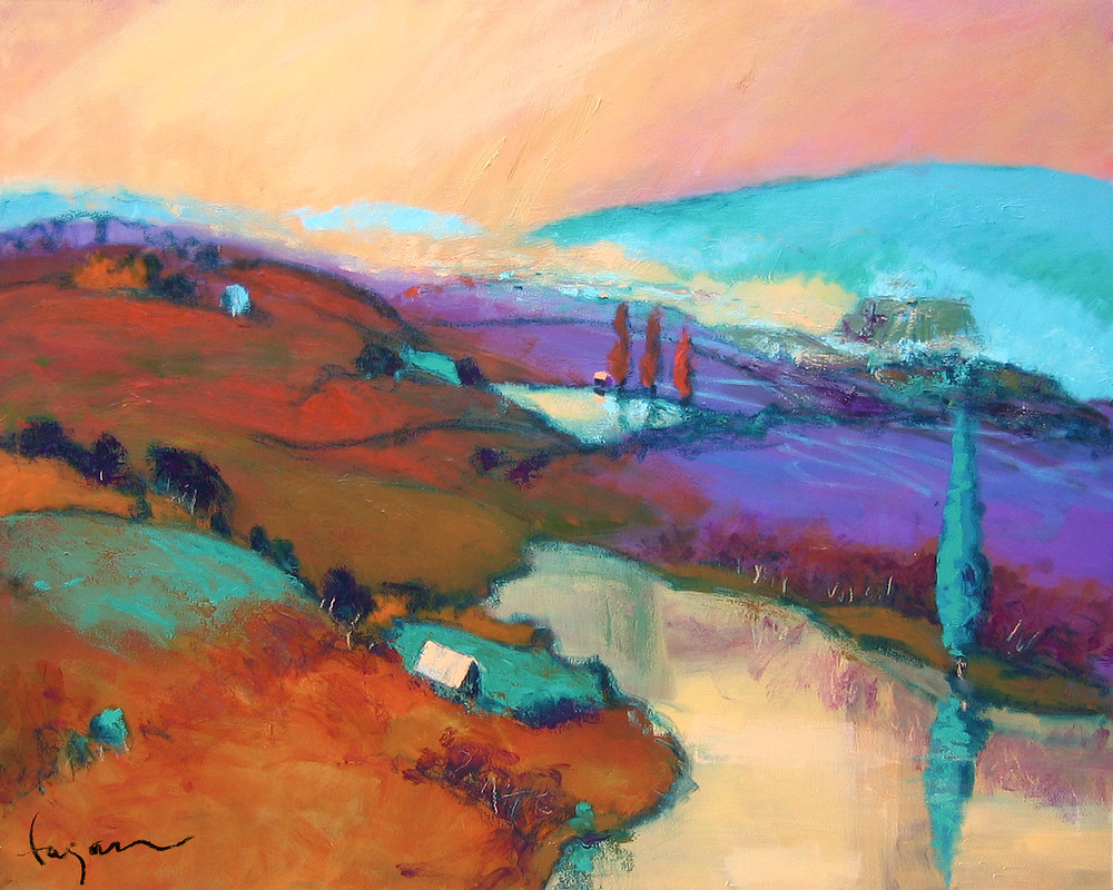 Gold Purple Abstract Landscape Painting, Fine Art Print by Dorothy Fagan