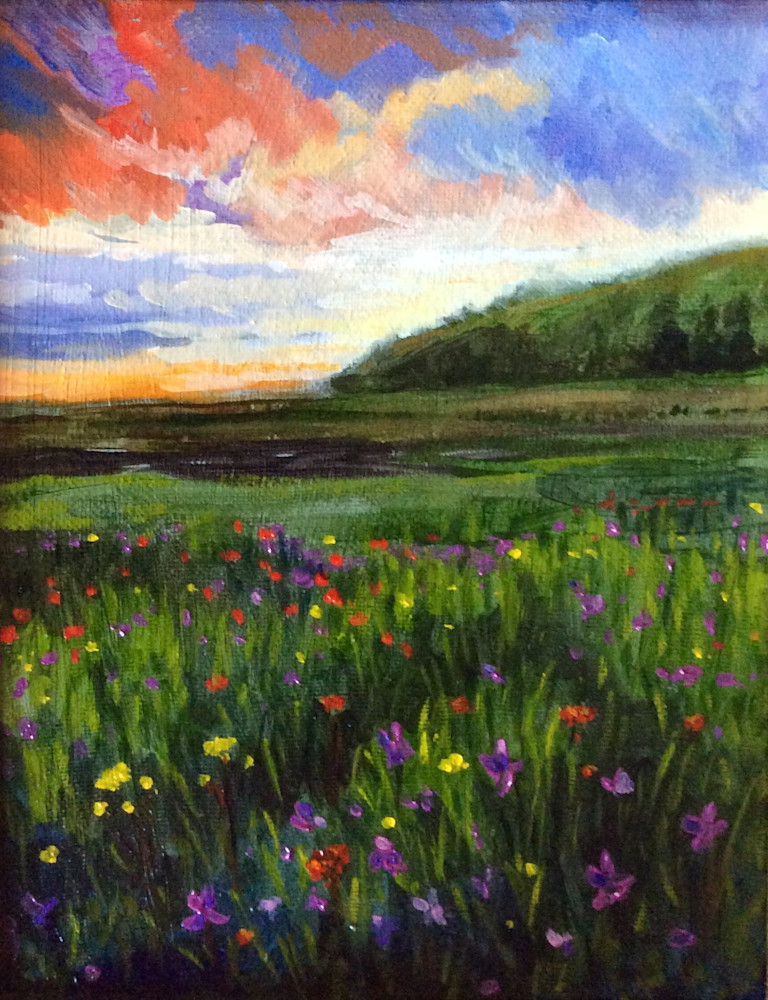 Wildflowers at sunset fine art print